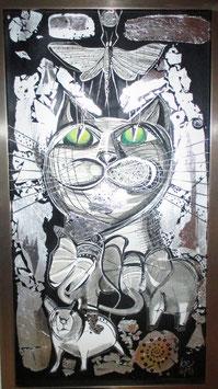 Katze, Bild mit Rahmen, 23x43cm