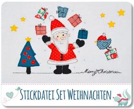 Stickdatei Weihnachtsset, Weihnachtsmann mit Baum und Geschenken für mind. 13x18 Stickrahmen