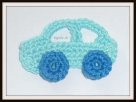Auto Hellblau Häkelapplikation