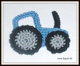 Traktor Blau Häkelapplikation