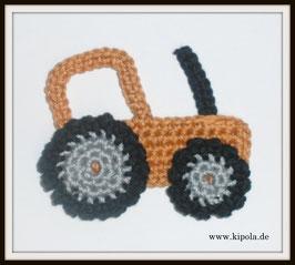 Traktor Braun Häkelapplikation