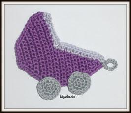 Kinderwagen - Häkelapplikation Lila