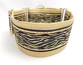 Halsband Zebra / schwarz-gold / Schmuckborte 33.