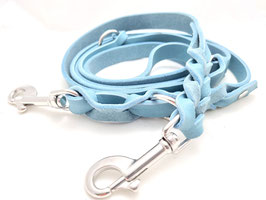 Hochwertige Fettleder Leine 3-fach verstellbar / Eisblau