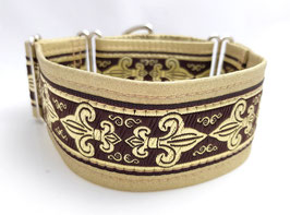 Halsband Fleur de Lis / braun-gold /  Schmuckborte 32.