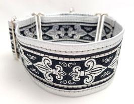 Halsband Fleur de Lis / schwarz-silber /  Schmuckborte 30.