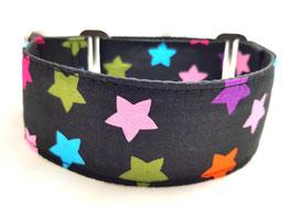 Halsband Sterne schwarz/bunt / 22.