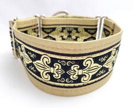 Halsband Fleur de Lis / schwarz-gold / Schmuckborte 31.
