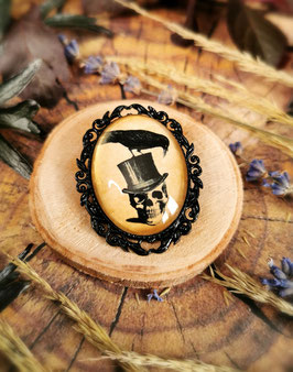 Anhänger & Ohrringe Schädel mit Zylinder und Rabe