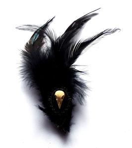Hutfeder schwarz klein Schädel