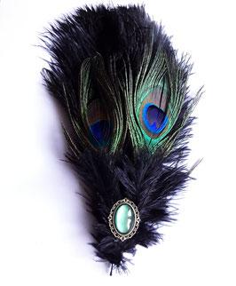 Hutfeder schwarz Strauß Pfau