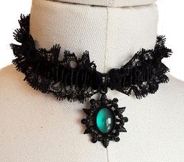 Halsband Rüsche elastisch schwarz Stern