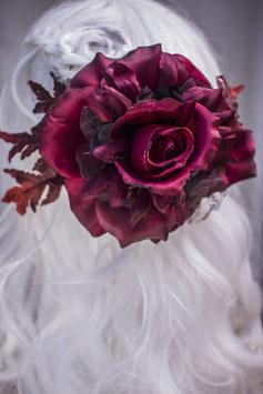 Haarspange rot Rosen Herbstrose
