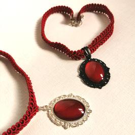 Halsband Posamentenborte rot Oval Stern