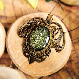 Haarclip Jugendstil bronze Oval groß