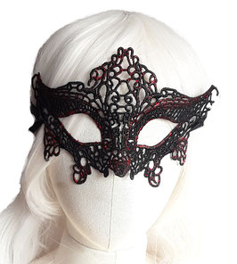 Maske schwarz rot Glitzer