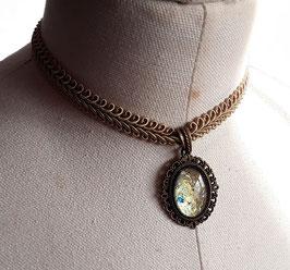 Halsband Posamentenborte beige Oval einfach bronze