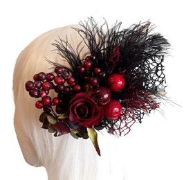Haarspange dunkelrot Rose