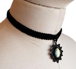 Halsband Posamentenborte Stern einfach schwarz