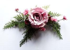 Haarspange grün rosa Rosen