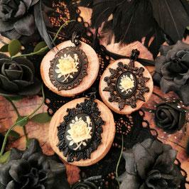 Anhänger Ohrringe Set Rose elfenbein schwarz