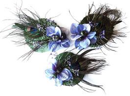 Haarspange Pfau Blatt Flieder