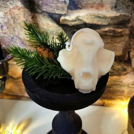 Witchy Kerze Katzenschädel mit Mond in elfenbein