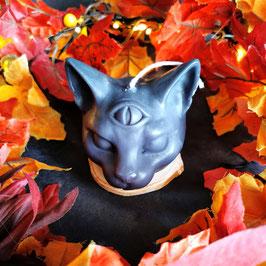 Kerze Dreiäugige Katze in schwarz