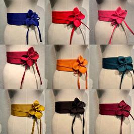 Ceinture fleurs en coton uni
