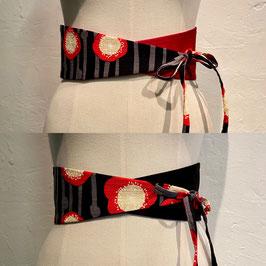 Ceinture reversible taille haute en imprimé japonais motif coquelicot noir et  rouge