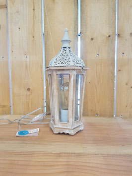 Eglo Tafellamp Vintage Hout/Wit Lantaarn
