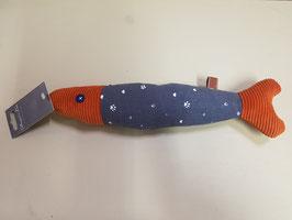Speelgoed vis blauw/wit en oranjebruin