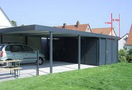 Stahl-Doppel-Carport 507814-GSW mit Gerätekammer