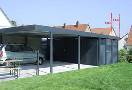 Stahl-Doppel-Carport 507710-GSW mit Gerätekammer
