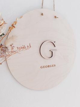 """Houten naambord met 3D letter """"GEORGES"""""""