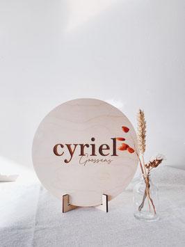 """Houten naambord """"CYRIEL"""""""