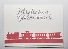 -Herzlichen Glückwunsch- Karte Eisenbahn