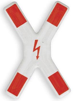 Andreaskreuz mit el. Blitzsymbol
