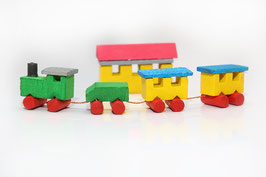 Miniatur Holz Zug in Zündholzschachtel