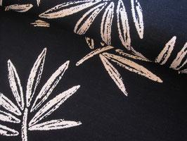 Jacquardjersey, Chalk Leaves Knit - schwarz/weiß by Cherry Picking