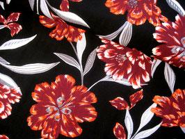 Viskosestoff, Blumenprint - schwarz/rot