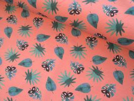Baumwolljersey, Blätter Tommy - pink/petrol