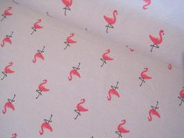 Baumwolljersey, Flamingos Vera - hellgrau/pink