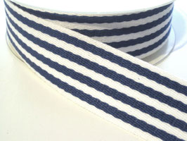 Gurtband, 38mm - blau/weiß gestreift