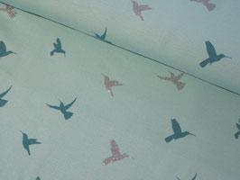 0,10 m Jersey, Glitzer Hummingbird - mint/silber by Ilja Fabrics