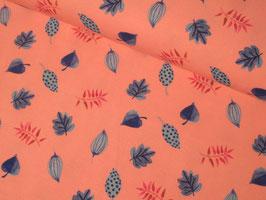 Baumwolljersey, Giraffe Paradise - Blätter rosa/türkis