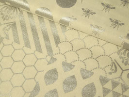 0,10 m Baumwolle/Leinen, Echino Piece - weiß/silber by Kokka