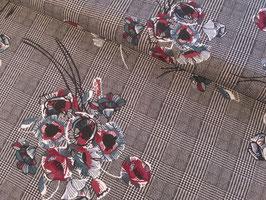 Viskosestoff, Ellana - schwarz/weiß kariert mit Blumenprint