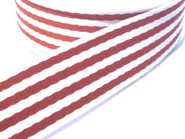 Gurtband, 38mm - rot/weiß gestreift