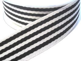 Gurtband, 38mm - schwarz/weiß gestreift